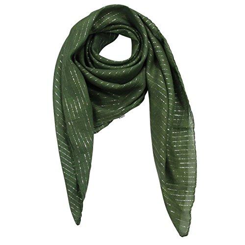 Superfreak® Baumwolltuch mit Silber Lurex - Tuch - Schal - 100x100 cm - 100% Baumwolle Farbe: grün
