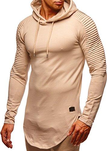 Leif Nelson Herren Kapuzenpullover Slim Fit Baumwolle-Anteil Moderner weißer Herren Hoodie-Sweatshirt-Pulli Langarm Herren schwarzer Pullover-Shirt mit Kapuze LN6369 Beige Medium