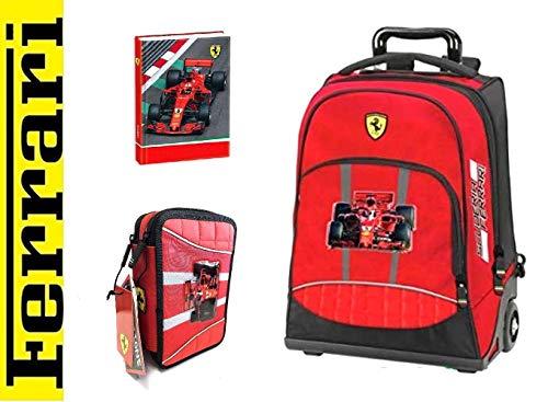 Scuola Ferrari - Trolley con estuche de 3 pisos, completo + diario + bolígrafo con purpurina + marcapáginas