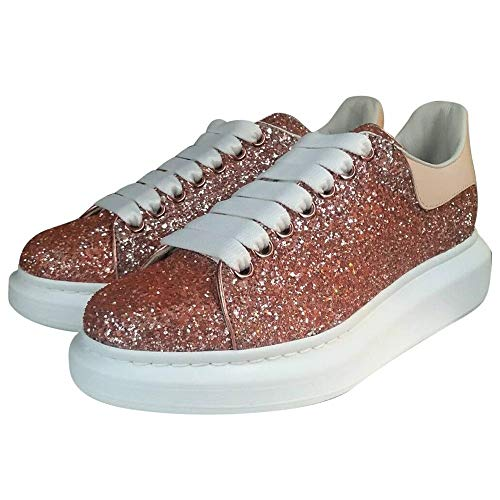 Alexander McQueen Pink Oversize Glitter Low Top Sneakers New/Authentic (9)