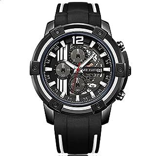 Megir MN2097G-BK-1N7 Two-Tone Silicone Round Analog Watch for Men - Black