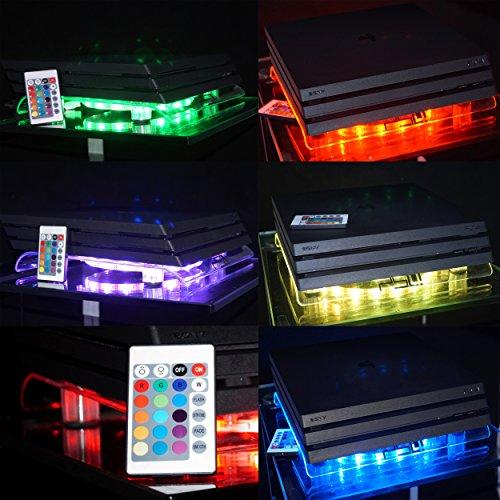 Ventilador USB de diseño de VINCORP multicolor RGB LED 19 cm ventilador y soporte para Playstation 4/3 así como PS4 Pro y Slim Variante