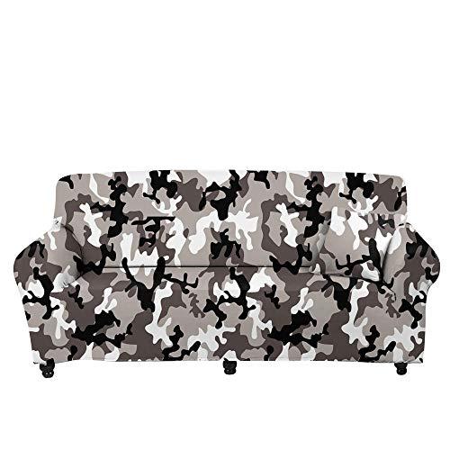 HXTSWGS Cojines de sofá de Alta Elasticidad,Funda de sofá de Camuflaje Floral 3D, Funda Protectora elástica con Todo Incluido de Tela para el hogar, Funda de sofá para Sala de Estar-Color1_145-185cm