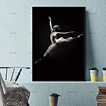 JFBHDM Nordic Canvas Painting Wall Art Decoration for The Living Room Black and White Dancer Figure Modern Print Picture Dwp0206 20X30Cm