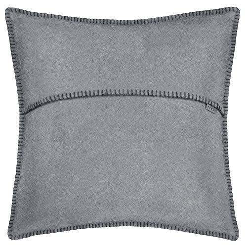 Soft-Fleece-Kissenbezug – Polarfleece mit Häkelstich – weiche, hochwertige Sofa-Kissenhülle –  50x50 cm  – 935 titanium – von 'zoeppritz since 1828'