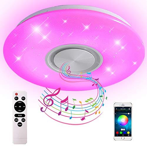 36W Bluetooth Deckenleuchte LED RGB Deckenlampe, mit APP und Fernbedienung Steuerung, Farbwechsel, dimmbar, Sternenhimmel Lampe (50 * 5,5cm)