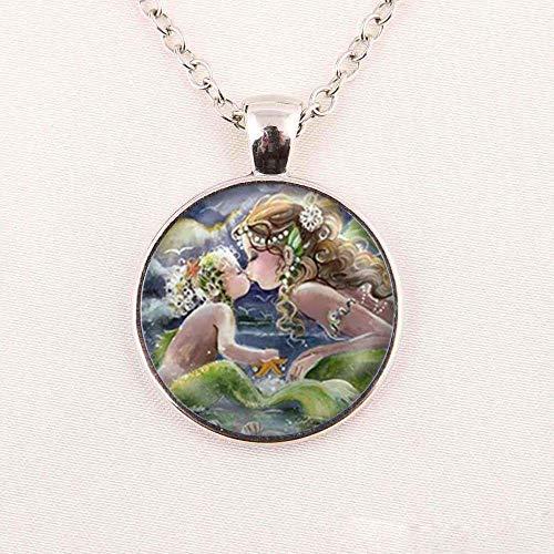 Collar con cabujón de cristal redondo de 25 mm, diseño de sirenita de fantasía de cuentos de hadas y mitología de cristal, con imagen artística