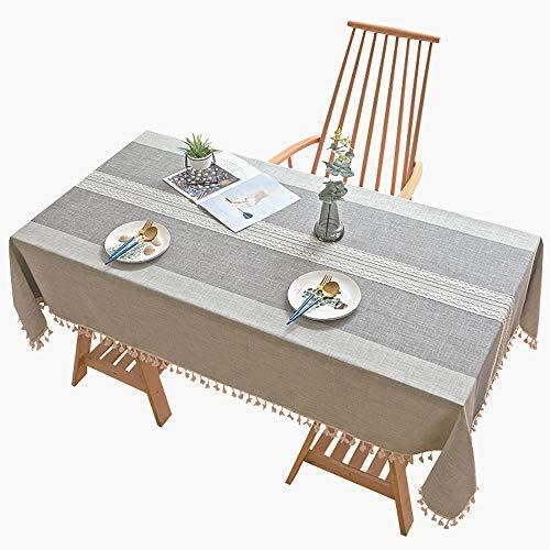 Mantel Mesa Rectangular Striped, 110x230cm Mantel Tela Algodon Lino con Borlas, para mesas rectangulares o ovaladas La decoración del hogar Lavable,Gris