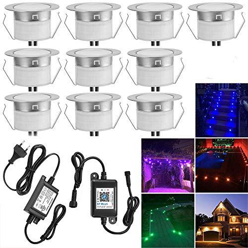 10er Set Bluetooth RGBWW Led Bodeneinbaustrahle Aussen 1.2W Ø45mm IP67 Wasserdicht LED Einbaustrahler Terrasse Küche Garten Led Lampe Full Kit