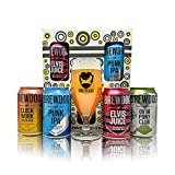 Brewdog UK Craft Beer 4 Can Gift Set with Branded Glass - (Punk IPA, Dead Pony, Elvis Juice, Clockwork Tangerine)