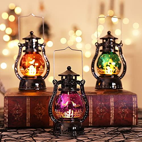 Lanterna Portatile A LED Halloween, Lampada A Olio Laser retrò Piccola, Lanterna Decorazioni Halloween Portatile creatività, Lanterna A Candela Senza Fiamma A LED