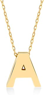 GELIN 14k Solid Gold Simple Initial Letter Alphabet Pendant Necklace for Women
