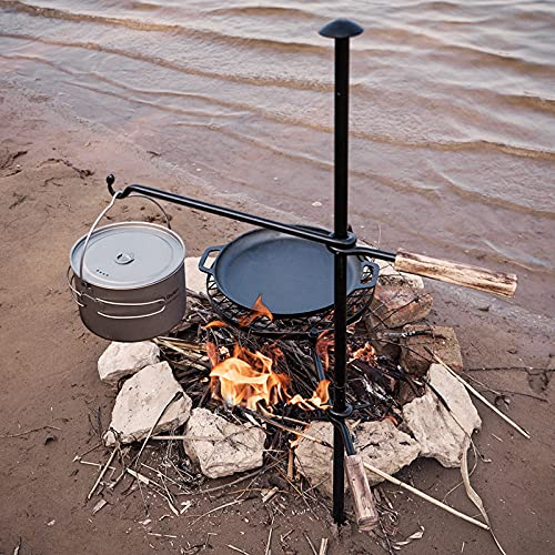 HZGAMER Fire Pit Grill, Adjustable Swivel Campfire Grill Heavy Duty BBQ Steel Grate, Over Fire Camping Grill for Outdoor Barbecue Over Open Fire