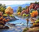 Pintura Por Números Pintura Pescar Pintar Por Numeros Con Pinceles Y Pinturas Sobre Lienzo Para Adultos Niños Principiantes 16 * 20 Pulgadas Sin Marco