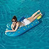 SHENXIAOMING Helado Hamaca Flotante, Piscina Colchón Hinchable con Almohada Cozy, Versátil Flotador De Verano Colchonetas Inflable Hamaca De Agua Pool Lounge Float para Adultos Y Niños,Azul