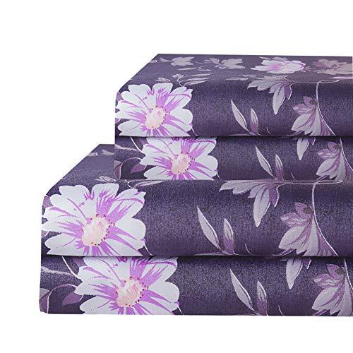 Bedlifes Purple King Sheet Set Floral Luxury Ultra Soft WrinkleFree Hypoallergenic Flowers Pattern Printed Bed Sheets Deep Pocket Flat Sheetamp Fitted Sheetamp Pillowcases 100% Microfiber 4 Piece