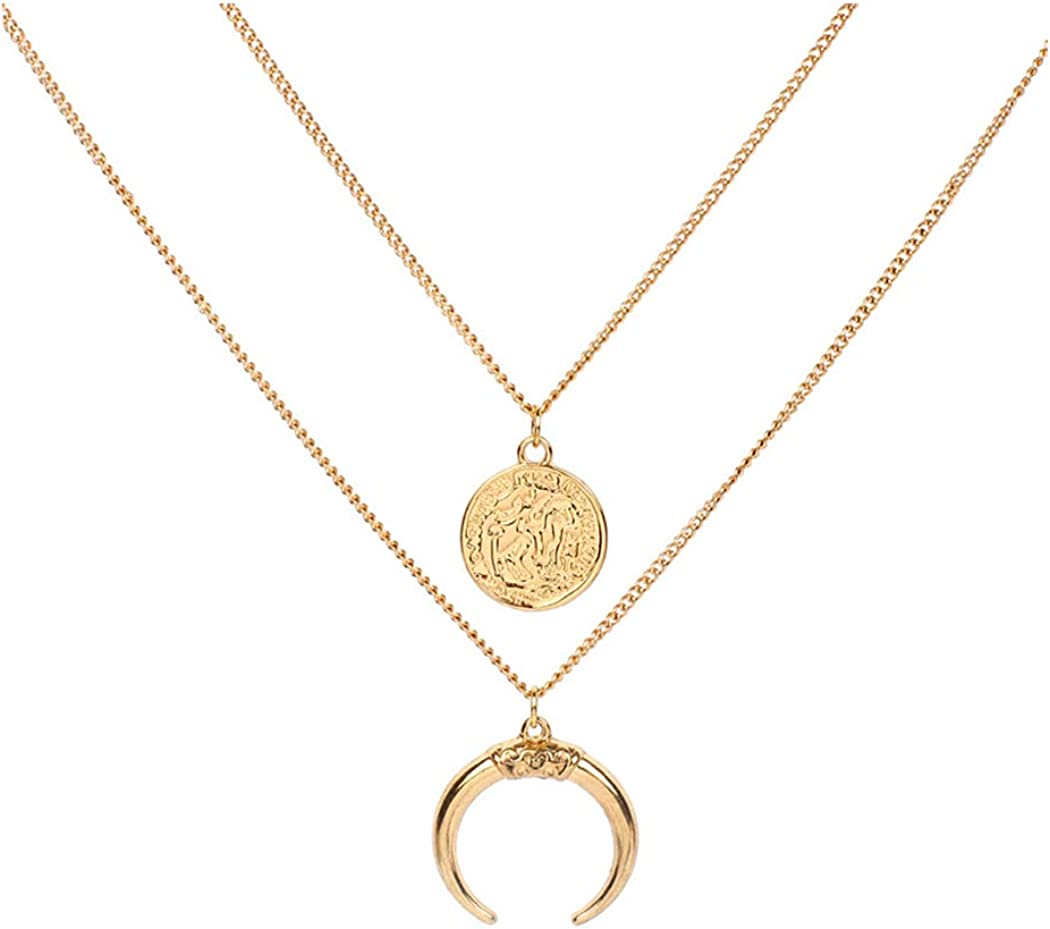 Eoumy Layered Gold Moon Necklace for Women Dainty Long Chain Moon Coin Y-Necklace Gold Crescent Full Moon Pendant Necklace