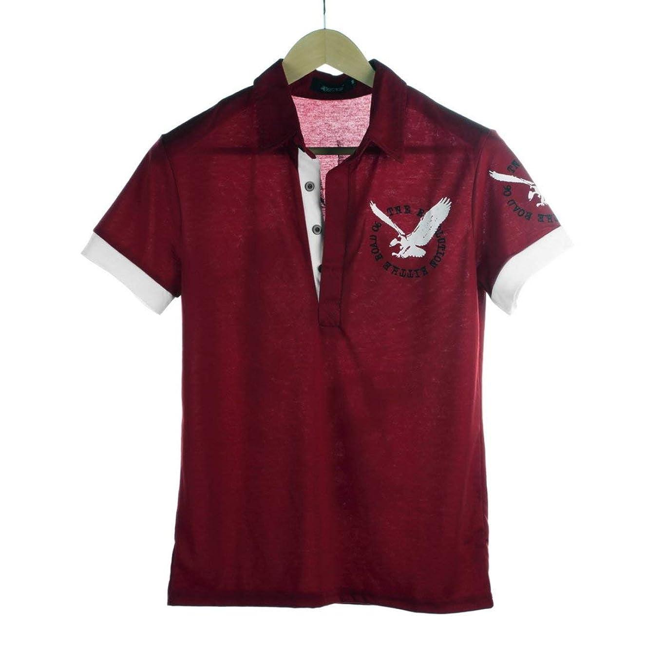 注意闇充実メンズプレミアムイーグルプリント半袖ポロシャツ襟Tシャツ-ワインレッド-XXL