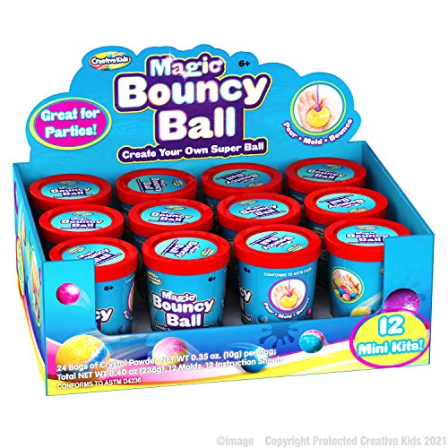 Creative Kids Make Your Own Bouncy Ball DIY Craft Kit for Kids - Individual 12 Pack Bulk Activity Set – Science STEM Party Favor Gift for Boys & Girls Kids 6+