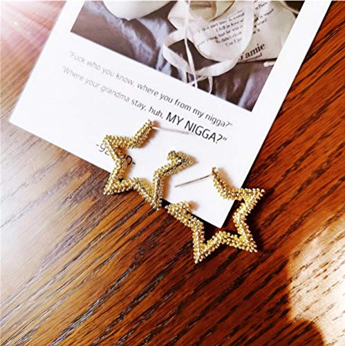 Vvff Star Textured Earrings Gold Plated Brass Cuff Outline Statement Earrings Women Girls Daily Metal Jewelry