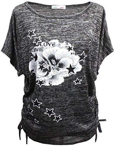 Emma & Giovanni - Sommer T-Shirt/Oberteile Kurzarm - Damen (# Schwarz, XL-XXL)