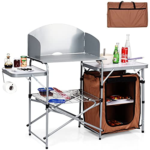 Giantex Folding Grill Table with 26'' Tabletop and Detachable Windscreen, Aluminum Portable Camp Cook Station with Carry Bag Quick Set-up for BBQ Camping Picnic Backyard, Outdoor Camping Kitchen Table