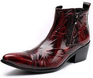 Rui Landed Bottes Chelsea en Cuir véritable Ox Rouge pour Homme Chaussures pour Homme boîte de Nuit