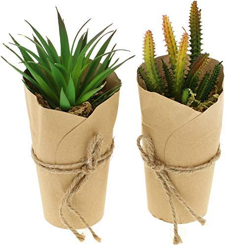 COM-FOUR® 2x kunstplanten [selectie varieert], bedrieglijk echte decoratieve planten in papieren vaas, kunstplant voor huis, tuin, balkon en kantoor (02 stuks - maat XL)