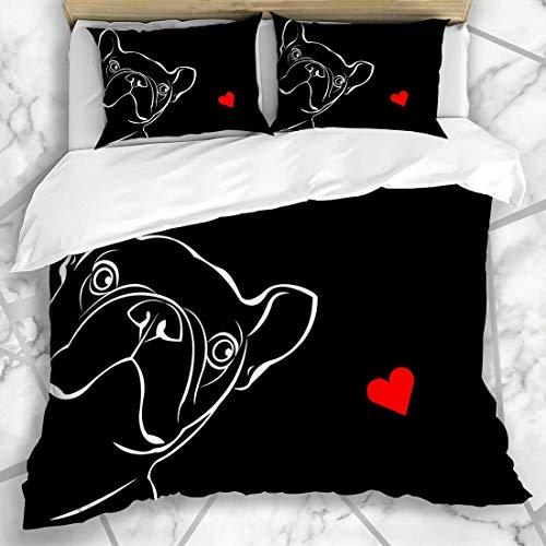 ZOANEN Ropa de Cama - Funda nórdica Adorable Raza de Perro francés Cute Pet Bulldog Funny Love Black Boxer Sketch Design Microfibra Nuevo Set de Tres Piezas Funda de edredón 140 * 200