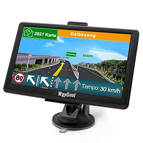 GPS Navigationsgerät für Auto LKW - WayGoal Navigation 7 Zoll Navi für Auto PKW, Lebenslang Kostenloses Kartenupdate mit POI Blitzerwarnung Sprachführung Fahrspurassistent, 2021 Europa UK 52 Karten