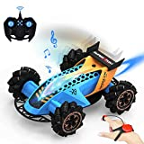 allcaca macchina telecomandata per bambini, rc auto 4wd 2.4ghz auto telecomandata con musica luci a led e spray sensore di gesto deriva, auto radiocomandata 360 grado rotazione per bambini regali, blu