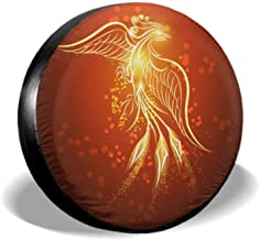 ENEVOTX Illustration of Rising Phoenix Against Red Dark Ba Funny Tire Cover Universal Spare Tire Cover Tire Cover Waterproof Uv Sun 14