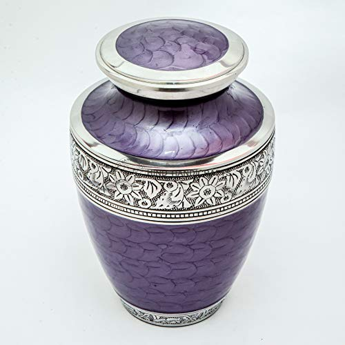 Hind Handicrafts Silver Engraved Cremation Urn for Human Ashes Adult Funeral Urn Handcrafted - Large Burial Urn for Human Ashes 7' x 7' x 10'- 220lbs or 100kg - Bag Included (Purple)