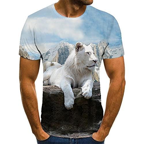 HOHHJFGG Camiseta con Estampado 3D de león Blanco Camiseta de Manga Corta para Hombre de Verano, Joven y Guapo, Cool Top