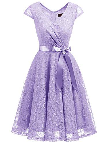 DRESSTELLS Elegant Spitzenkleid Knielang V-Ausschnitt Brautjungfernkleid Cocktailkleid Abendkleider Lavender S
