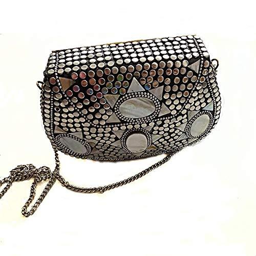 Bolsos Latón modelo en plata y Mosaicos rígidos,originales, hecho a