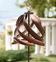Solar Copper-Colored Metal Garden Wind Spinner Sculpture - Decorative Yard Art - 21.5 Diam. x 75 H