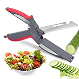 Kitchen Food Cutter Vegetable Scissors Smart Cutter 5 in 1 Knife with Cutting Board Slicer Fruit...