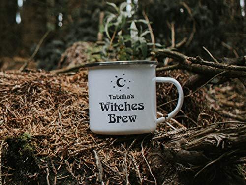 10 oz personalizada brujas Brew Mug Halloween regalo taza esmalte taza taza taza café camping taza regalo personalizado otoño