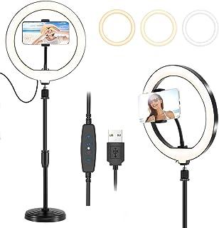 10インチ自撮りリングライト、LEDリングライト,卓上型,3色モード、調節可能、伸縮自在なスマホスタンド付き,Vlog、Youtubeビデオ撮影、生放送、自撮りなどの動画撮影に対応、スマホ生放送用照明、顔美化・肌美化ライト、生放送人気ライト、撮...