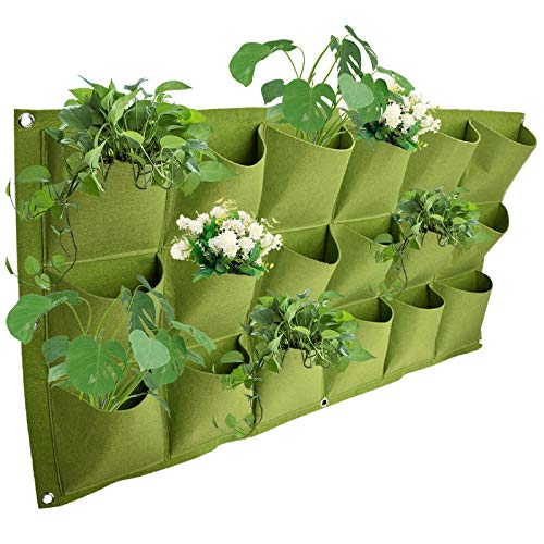 Oenbopo Vertical Garden Planting Bags Planter Greening Hanging Wall Garden Grow Plant Bags Planter for Indoor/Outdoor (18 Pockets, Green)