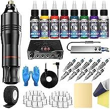Wormhole Tattoo Pen Kit Complete Tattoo Kit Professional Rotary Tattoo Machine Kit Power Supply 10 Cartridge Needles 8 Tattoo Ink 40 Tattoo Ink Caps for Tattoo Artists WTK069