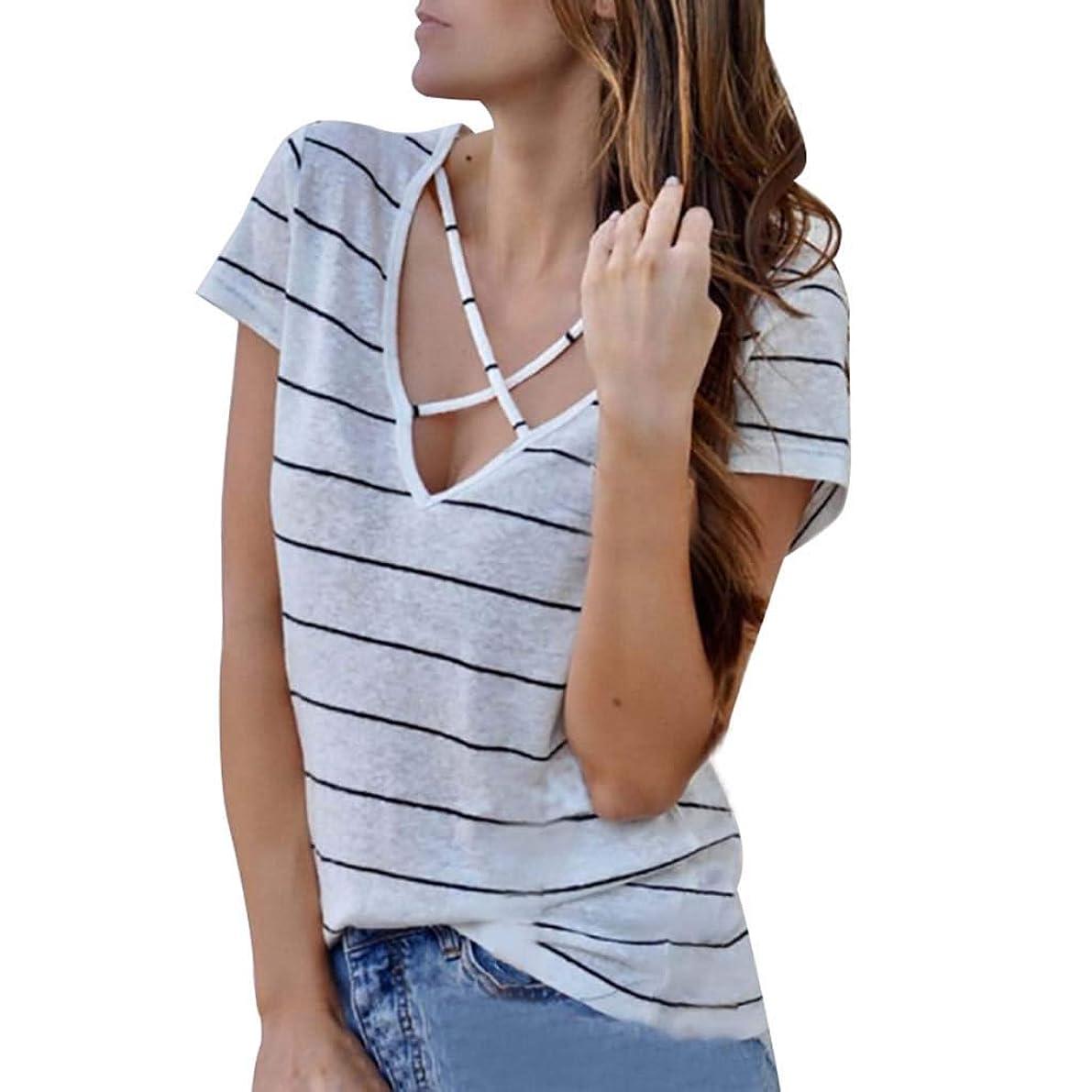 システムものリーガン女性のセクシーなVネックストライププリントシャツ、女性の半袖夏の古典的な野生のプルオーバートップ (白, S)