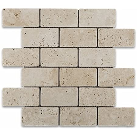 Ivory Light Travertine 1 X 2 Mosaic Tile Tumbled