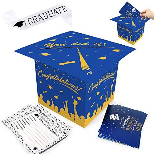 Haojiake Congrats Grad Card Box Holder, Cap Shaped Card Box Centerpiece with Graduate Advice Card and Graduate Sash for Graduation Party Supplies