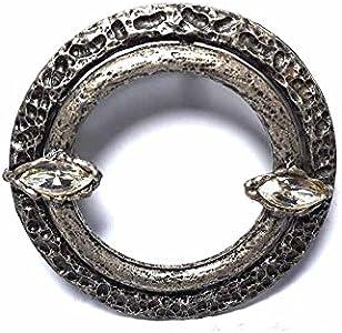 Hebilla para cinturón de 4 cm, redonda, color plateado antiguo, hebillas de metal o piedras o brillantes o esmaltes o cristales muranos y 1 llavero BSS cc2