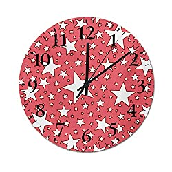 Homesonne Wall Clock Big and Small Star Figures Burst Youthful Energetic Celebration Design Festive Silent Kids Wall Clock Runs Accurately and is Easy to Read Coral Red White 13.4 Inch