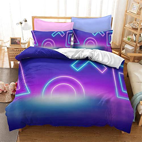 SMNVCKJ Juego de cama PlayStation Gamepad, funda de edredón con cremallera y funda de almohada, 100% microfibra, para niños y niñas (9,Super King 220 x 260 cm)