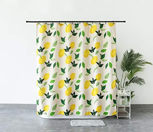Aistuo Duschvorhänge, Duschvorhang Stoff, Anti-Schimmel, Anti-Bakteriell,Wasserdichtes Design, mit 12 Duschvorhangringen, 180 x 200 cm (Zitrone)