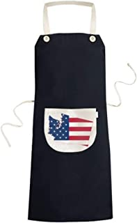 cold master DIY Washington The United States Of America USA Map Stars And Stripes Flag Shape Cooking Kitchen Bib Aprons With Pocket for Women Men Chef Gifts 70cm x 67cm Black